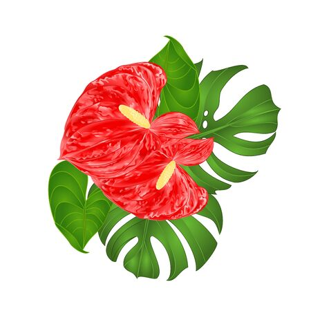 Tropical flowers floral arrangement, with beautiful lilies anthurium  and philodendron vintage vector illustration  editable hand draw Stock Illustratie