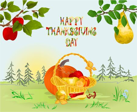 Happy Thanksgiving day  Card beautiful autumn landscape on sunny background  lettering fall branches apple tree with red apples and pears and fruits in a basket vintage vector editable hand draw