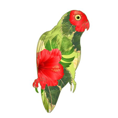 Parrot Agapornis lovebird tropical bird  floral pattern red and yellow hibiscus palm on a white background vector illustration editable hand draw Banco de Imagens - 129618840