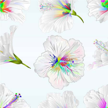 Seamless texture Hibiscus multi colored flowers tropical plants   on blue background vintage vector illustration editable hand draw Stock Illustratie