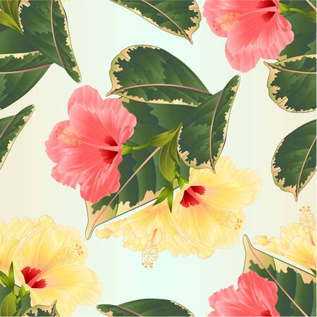 Seamless texture tropical flowers  floral arrangement, with pink and yellow hibiscus and  ficus natural background vintage vector illustration  editable hand draw Stock Illustratie