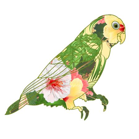 Parrot Agapornis lovebird tropical bird  floral pattern   white and yellow hibiscus palm on a white background vector illustration editable hand draw Banco de Imagens - 129619743