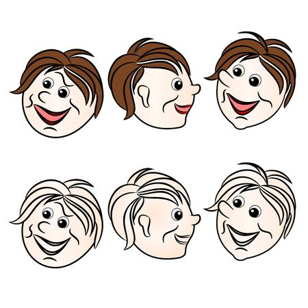 Faces character boys smiling natural and outline set first on a white background vintage vector illustration editable hand draw Stock Illustratie