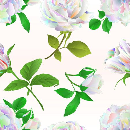 Seamless texture multicolored  roses and buds  celebration background watercolor vintage vector botanical illustration editable hand draw Stock Illustratie