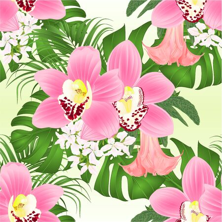 Seamless texture with tropical flowers  floral arrangement, with beautiful pink orchids cymbidium, palm,philodendron and Brugmansia  vintage vector illustration  editable hand draw Stock Illustratie