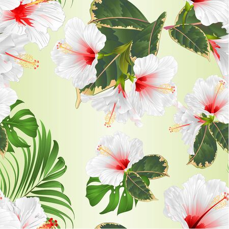 Tropical flowers  floral arrangement, with white hibiscus and  ficus watercolor on a white background vintage vector illustration  editable hand draw