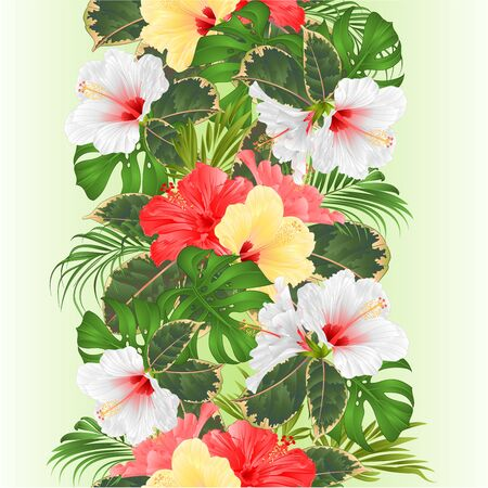 Tropical border seamless background  with tropical flowers Hawaiian style floral arrangement, with beautiful white pink and yellow hibiscus, palm,philodendron and ficus vintage vector illustration  editable hand draw