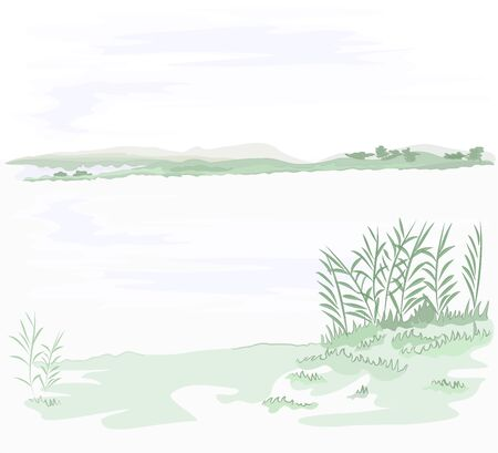 Autumn landscape calm  lake and cloudy sky and reeds nature background vector illustration editable hand draw