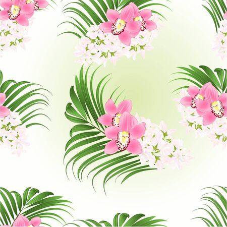 Seamless texture bouquet with tropical flowers  floral arrangement pink orchids cymbidium and palm vintage vector illustration  editable hand draw