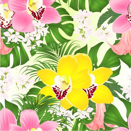Seamless texture bouquet with tropical flowers  floral arrangement, with beautiful pink and  yellow orchids cymbidium, palm,philodendron and Brugmansia  vintage vector illustration  editable hand draw