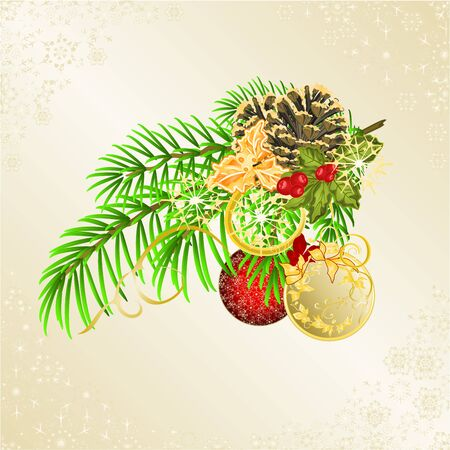 Christmas and New Year decorative branch christmas tree festive poinsettia  and pine cones golden and red balls vintage vector illustration editable hand draw