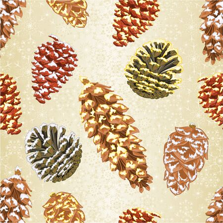 Christmas and New Year decorations seamless texture Four pine cones larch cones natural  and golden pine cones and snow pine cones vintage vector illustration editable hand draw Vettoriali