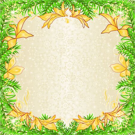Frame of golden poinsettia and   golden leaves  and fir tree branches  and golden snowflakes vintage vector illustration editable hand draw