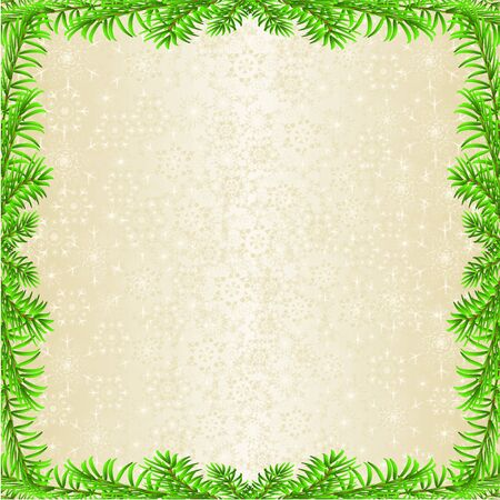 Christmas and New Year decoration frame spruce tree branch  and golden snowflakes  vintage vector illustration editable hand draw