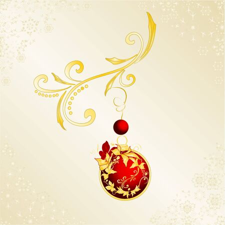 Christmas and New Year decorative golden ornaments  and   red balls   with festive poinsettia vintage vector illustration editable hand draw