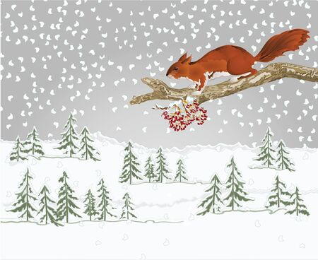 Winter landscape forest with snow and squirrel on an old tree natural rodent christmas theme natural background vintage vector illustration editable hand draw