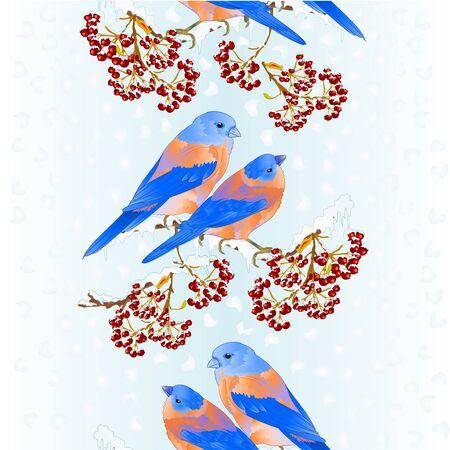 Vertical border seamless background birds Bluebirds thrush small songbirdon on snowy tree rowan berry winter background vintage vector illustration editable hand draw 向量圖像