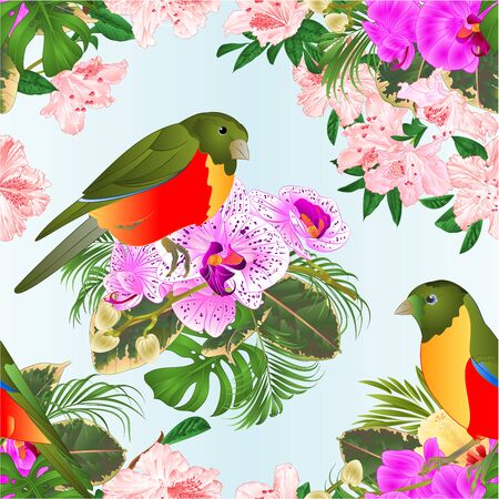 Seamless texture small tropical birds with tropical flowers   floral arrangement beautiful orchids and hibiscus,palm,philodendron and ficus vintage vector illustration  editable hand draw