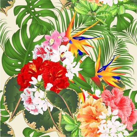 Seamless texture tropical flowers  floral arrangement with  Strelitzia and pink red yellow hibiscus and orchids Cymbidium  philodendron and Schefflera and Monstera  vintage vector illustration  editable hand draw
