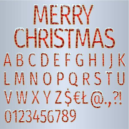 Alphabet and snow gold snowflakes on red background lettering merry christmas vintage vector illustration editable hand draw