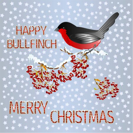 Happy  small bird bullfinch on a rowanberry branch Merry Christmas and New yar and lettering and snow  vintage vector illustration editable hand draw Ilustração