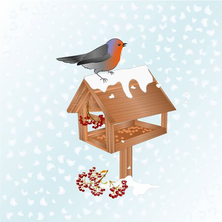 Winter landscape  with snow and robin bird with feeder christmas theme natural background vintage vector illustration editable hand draw place for text
