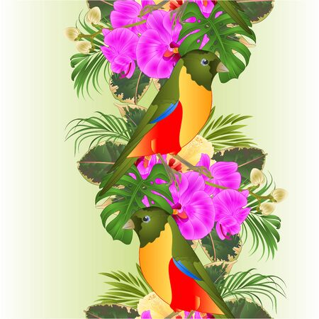 Vertical border seamless background small tropical bird with tropical flowers   floral arrangement, with beautiful orchid and hibiscus,palm,philodendron and ficus vintage vector illustration  editable hand draw