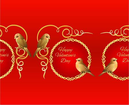 Horizontal border seamless background little golden birds and ornamets  valentines place for text red background vintage vector illustration editable hand draw 向量圖像