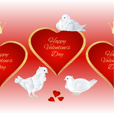 Horizontal border seamless background white pigeons birds and hearts valentines place for text red background vintage vector illustration editable hand draw