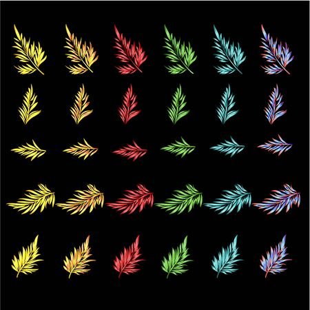 Decorative leaves gold, red, green, blue, neon watercolor set third  on black background  vintage vector illustration editable hand draw