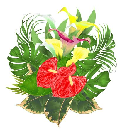 Bouquet with tropical flowers  floral arrangement, with beautiful white pink and yellow lilies Cala and anthurium, palm,philodendron and ficus vintage vector illustration  editable hand draw