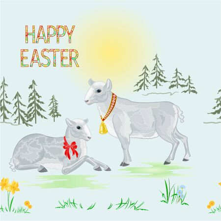 Seamless texture Happy easter spring landscape forest and easter lambs on the meadow   with daffodil vintage vector illustration editable hand draw 矢量图像