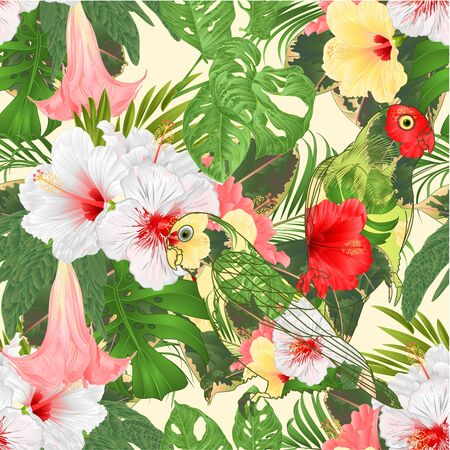 Seamless texture parrots Agapornis lovebird floral pattern with tropical flowers floral arrangement, with pink yellow and white hibiscus and Brugmansia palm,philodendron vintage vector illustration editable hand draw Vector Illustratie