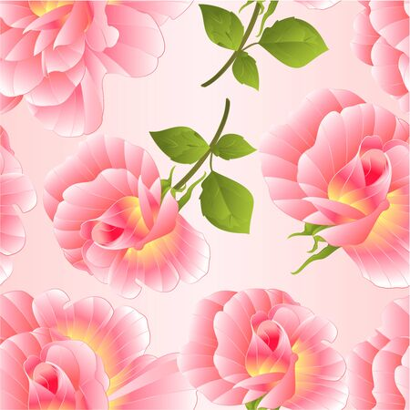 Seamless texture  pink rose rosebud with orange center watercolor  on a pink background vector illustration editable hand draw