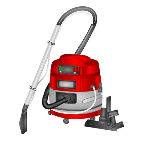 Red vacuum cleaner with water filter isolated on white background. Equipment for home care and hygienic purity watercolor vector illustration editable hand draw