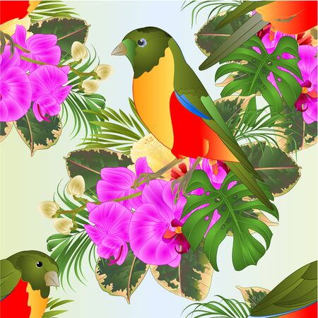Seamless texture tropical bird with tropical flowers   floral arrangement, with yellow hibiscus and purple orchid,palm,philodendron and ficus vintage vector illustration  editable hand draw