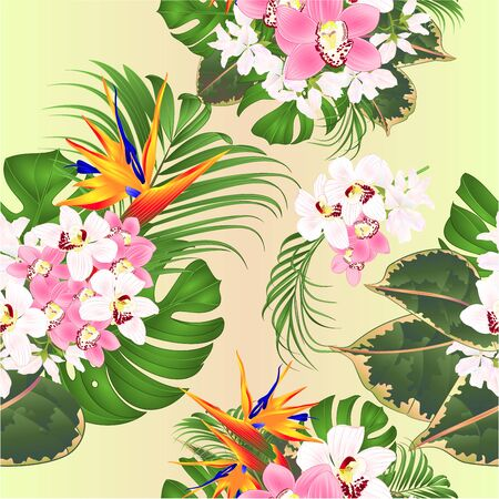 Seamless texture bouquet with tropical flowers  floral arrangement with beautiful Strelitzia  and white and pink orchids Cymbidium  palm,philodendron  ficus watercolor vintage vector illustration  editable hand draw