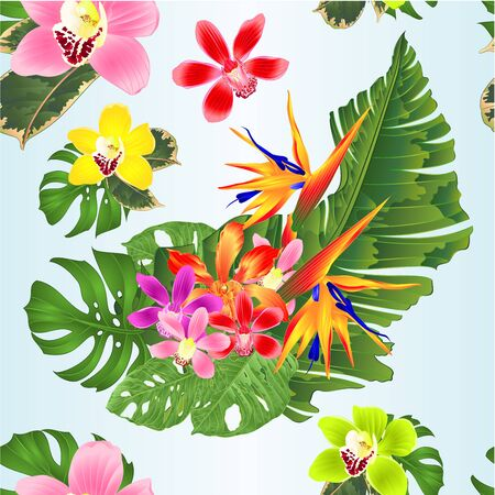 Seamless texture bouquet with tropical flowers   Strelitzia reginae pink and purple red  orchid cymbidium and Cattleya palm monstera leaf banana watercolor vintage  vector illustration editable hand draw Ilustrace