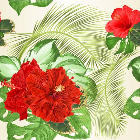 Seamless texture tropical flowers red hibiscus corrugated and Monstera and Variegated hosta foliage  on a white background vintage vector illustration editable hand draw Illusztráció