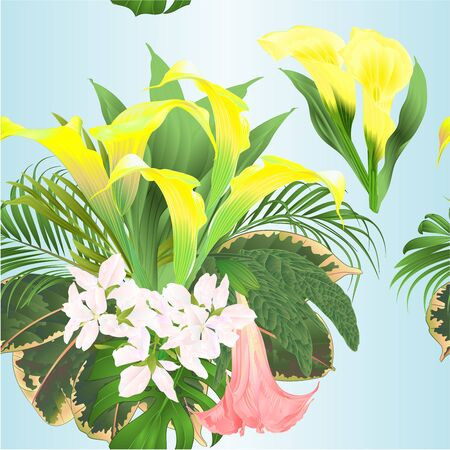 Seamless texture  bouquet with tropical flowers  floral arrangement, with   yellow lilies Cala and Brugmansia  palm,philodendron watercolor vintage vector illustration  editable hand draw