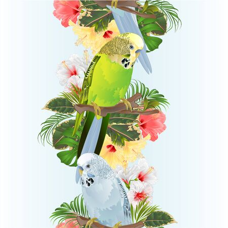 Vertical border seamless background birds Budgerigars, home pets ,green and blue parakeet on a branch bouquet with tropical flowers hibiscus, palm,philodendron vintage vector illustration editable hand draw