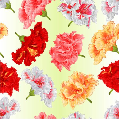 Seamless texture  tropical flowers hibiscus yellow red pink white   on a green background watercolor vintage  vector  botanical illustration editable hand draw Иллюстрация