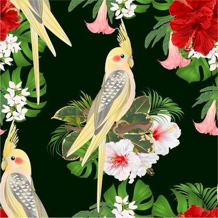 Seamless texture Yellow cockatiel  tropical bird   parrot watercolor style and tropicel flowers hibiscus, Brugmansia vintage vector illustration editable hand draw