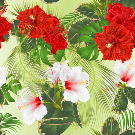 Seamless texture bouquet with tropical flowers set floral arrangement with beautiful red and white hibiscus corrugated palm,philodendron and ficus vintage vector illustration  editable hand draw