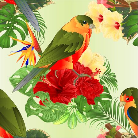 Seamless texture tropical birds   bouquet with tropical flowers hibiscus Strelitzia reginae  palm,philodendron on green  background watercolor vintage vector illustration editable hand draw Иллюстрация