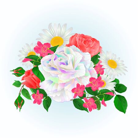 Bouquet  multicolored and pink roses and daisy and Weigela   on a blue background watercolor vintage vector botanical illustration editable hand draw