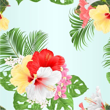 Seamless texture tropical Hibiscus white yellow red and orchids Cymbidium pink flowers and Monstera and palm watercolor on a white background vintage vector illustration editable hand draw
