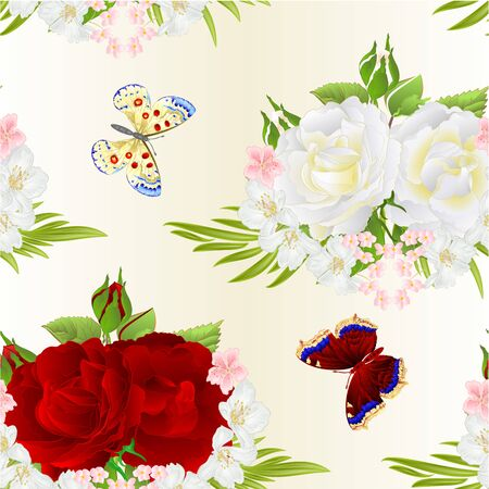 Seamless texture flovr white and red roses  and buds jasmine and butterfly vintage  festive  background watercolor vector illustration editable hand draw