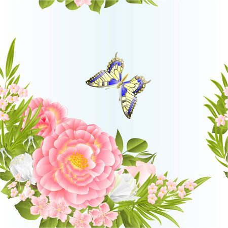 Seamless texture floral crescent with pink and  white roses and butterfly on a blue background watercolor vintage vector illustration editable hand draw Иллюстрация