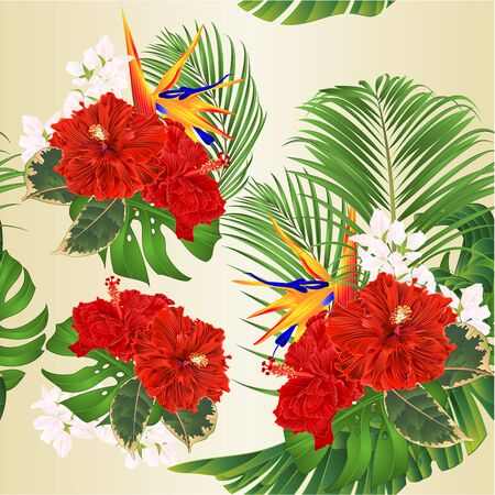 Seamless texture tropical flowers bouquet with red hibiscus and   Strelitzia reginae  palm monstera leaf banana  vintage vector illustration edizable hand draw